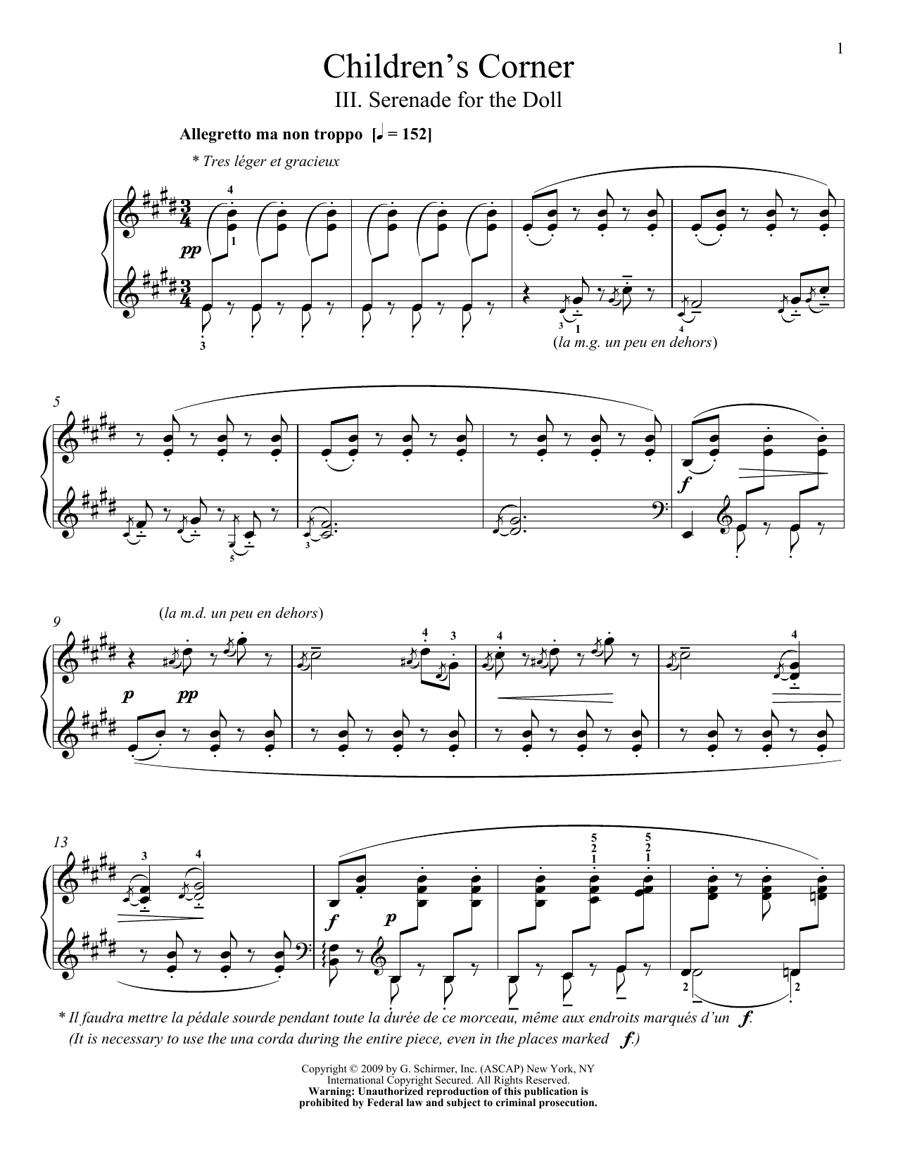 Claude Debussy Serenade For The Doll sheet music preview music notes and score for Piano including 6 page(s)