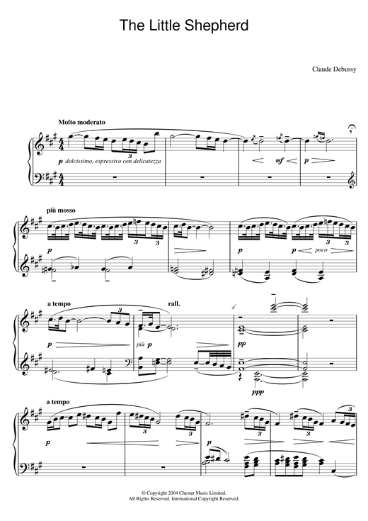 Claude Debussy The Little Shepherd sheet music preview music notes and score for Piano Solo including 2 page(s)