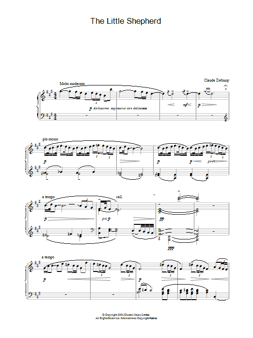 Claude Debussy The Little Shepherd sheet music preview music notes and score for Piano including 2 page(s)