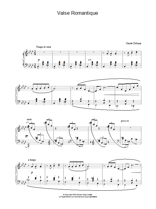 Claude Debussy Valse Romantique sheet music preview music notes and score for Piano including 6 page(s)