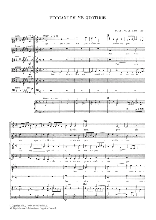 Download Claudio Merulo 'Peccantem Me Quotidie' Digital Sheet Music Notes & Chords and start playing in minutes
