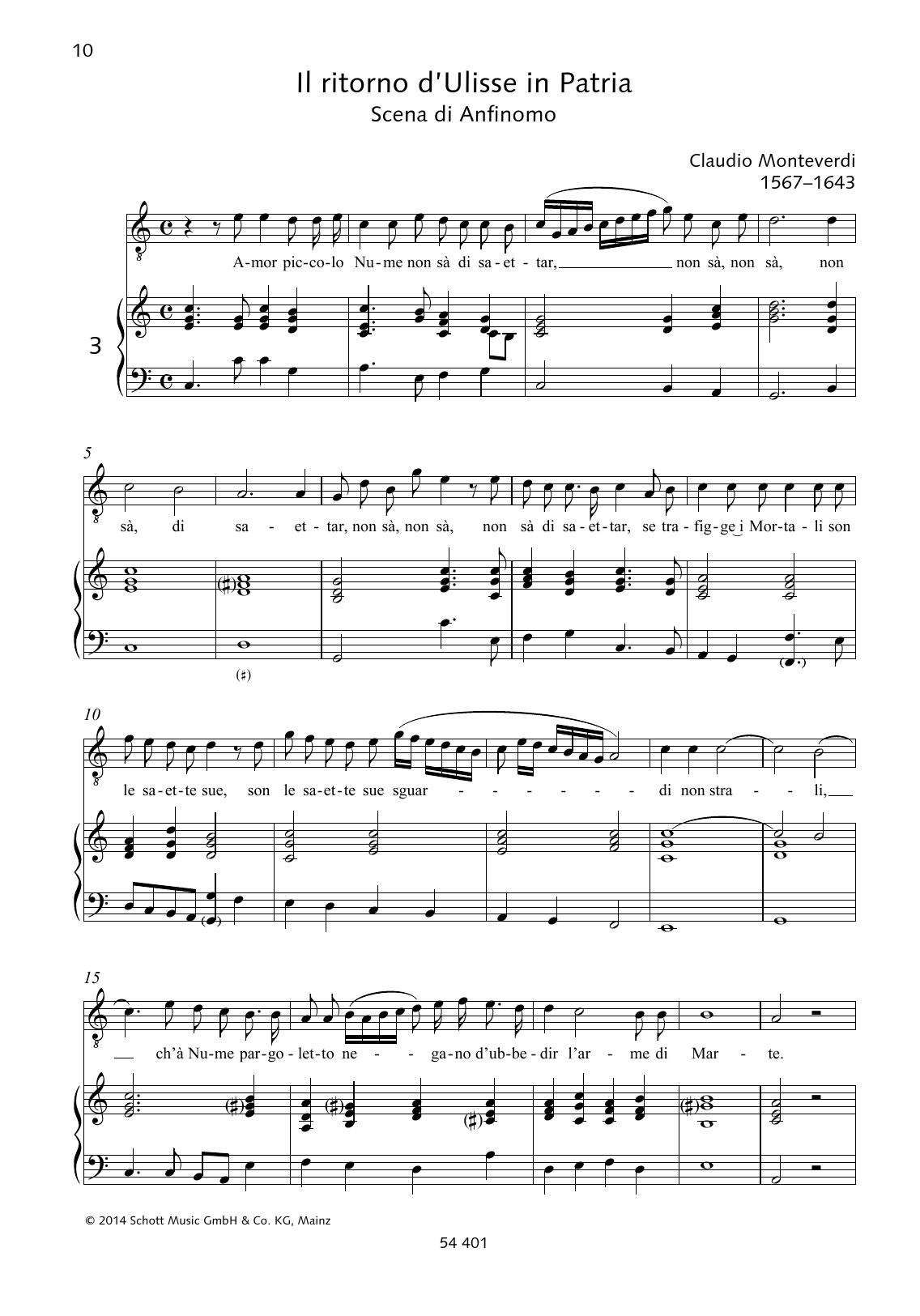 Claudio Monteverdi Amor piccolo Nume non sà di saettar sheet music preview music notes and score for Piano & Vocal including 2 page(s)