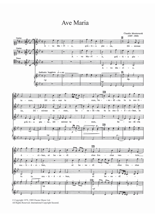 Download Claudio Monteverdi 'Ave Maria' Digital Sheet Music Notes & Chords and start playing in minutes