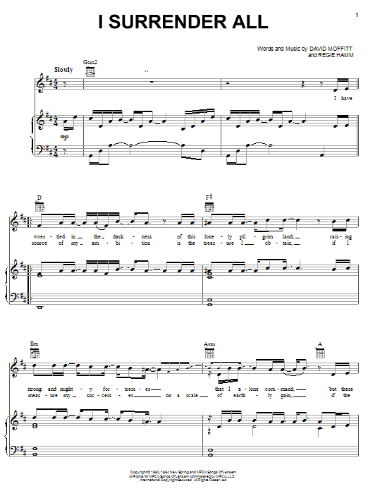 Clay Crosse I Surrender All sheet music notes and chords