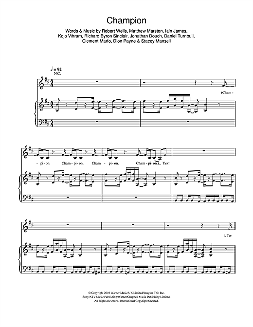 Download Clement Marfo 'Champion' Digital Sheet Music Notes & Chords and start playing in minutes