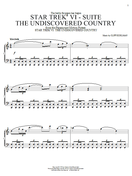 Cliff Eidelman Star Trek(R) VI - The Undiscovered Country sheet music notes and chords