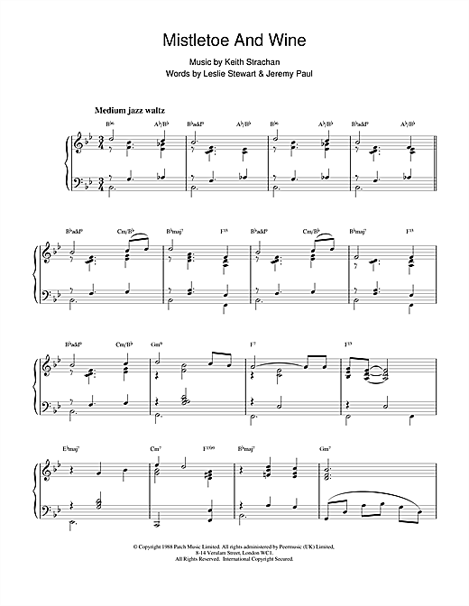 Cliff Richard Mistletoe And Wine (jazzy arrangement) sheet music notes and chords
