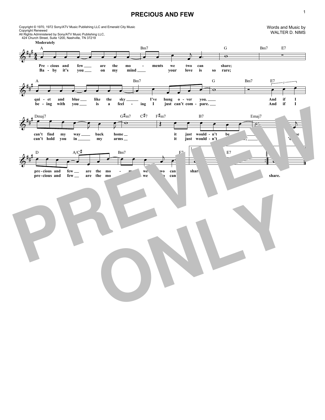 Climax Precious And Few sheet music notes and chords