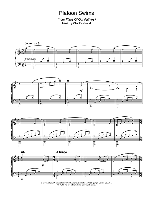 Download Clint Eastwood 'Platoon Swims (from Flags Of Our Fathers)' Digital Sheet Music Notes & Chords and start playing in minutes