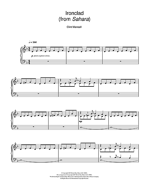 Download Clint Mansell 'Ironclad (from the Motion Picture Sahara)' Digital Sheet Music Notes & Chords and start playing in minutes