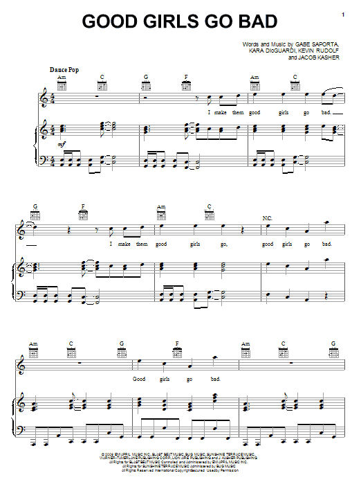 Cobra Starship Good Girls Go Bad (feat. Leighton Meester) sheet music preview music notes and score for Piano, Vocal & Guitar (Right-Hand Melody) including 8 page(s)