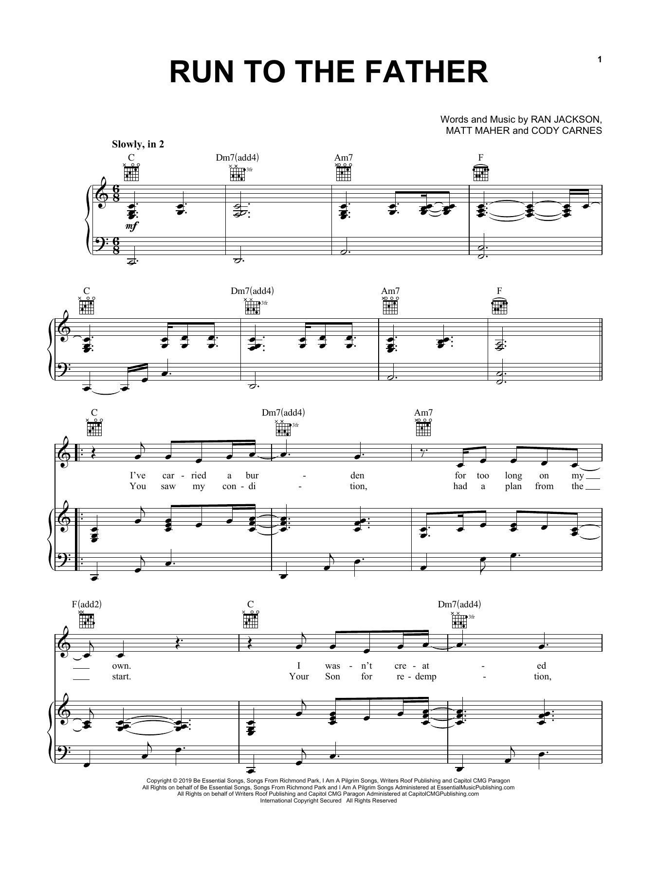 Download Cody Carnes 'Run To The Father' Digital Sheet Music Notes & Chords and start playing in minutes