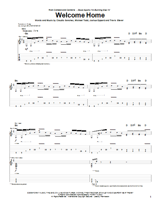 Coheed And Cambria Welcome Home sheet music preview music notes and score for Easy Guitar Tab including 5 page(s)