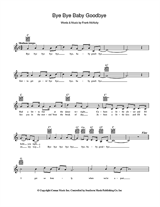 Col Joye Bye Bye Baby Goodbye sheet music preview music notes and score for Melody Line, Lyrics & Chords including 2 page(s)