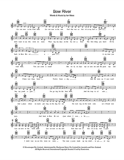 Cold Chisel Bow River sheet music preview music notes and score for Melody Line, Lyrics & Chords including 2 page(s)