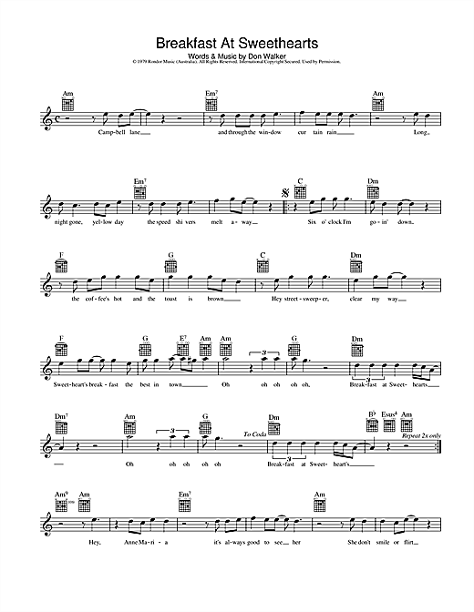 Cold Chisel Breakfast At Sweethearts sheet music preview music notes and score for Melody Line, Lyrics & Chords including 2 page(s)