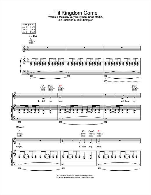 Download Coldplay ''Til Kingdom Come' Digital Sheet Music Notes & Chords and start playing in minutes
