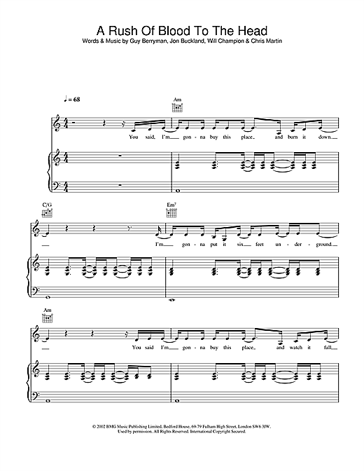 Coldplay A Rush Of Blood To The Head sheet music notes and chords