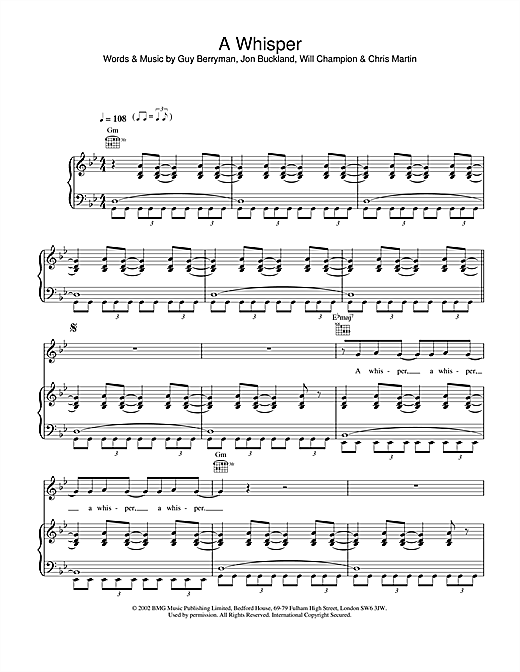 Coldplay A Whisper sheet music notes and chords