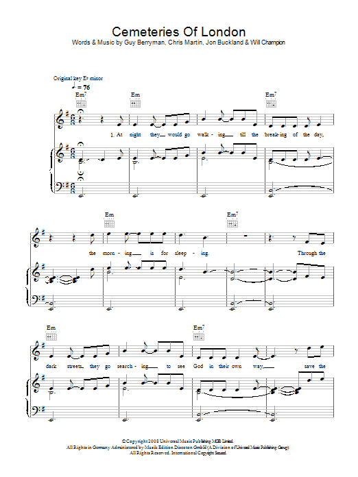 Coldplay Cemeteries Of London sheet music preview music notes and score for Piano, Vocal & Guitar including 5 page(s)