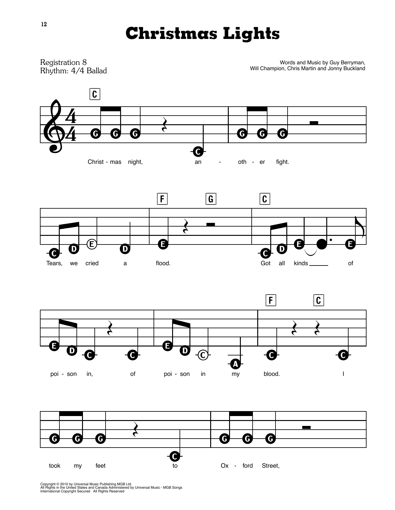 Coldplay Christmas Lights sheet music preview music notes and score for E-Z Play Today including 6 page(s)