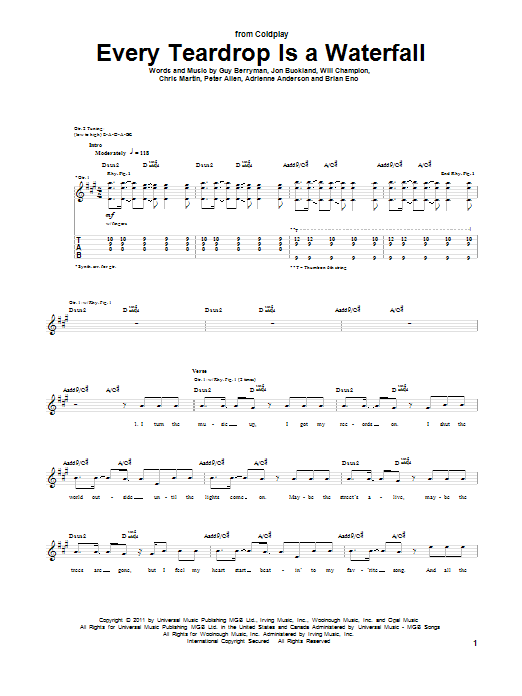 Coldplay Every Teardrop Is A Waterfall sheet music preview music notes and score for Guitar Tab including 7 page(s)