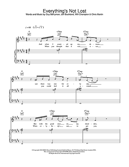 Coldplay Everything's Not Lost sheet music notes and chords