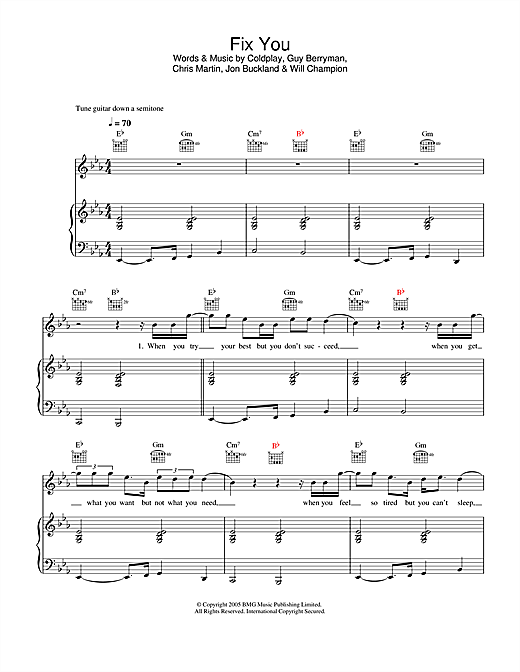 Download Coldplay 'Fix You' Digital Sheet Music Notes & Chords and start playing in minutes