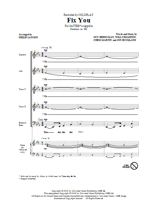 Coldplay Fix You (arr. Philip Lawson) sheet music preview music notes and score for SATB including 15 page(s)