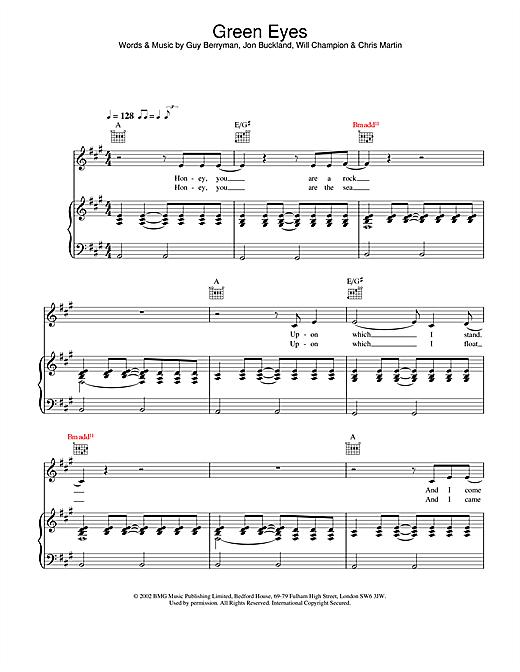 Coldplay Green Eyes sheet music notes and chords