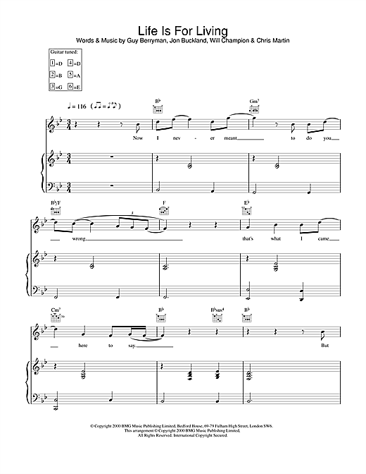 Coldplay Life Is For Living sheet music notes and chords