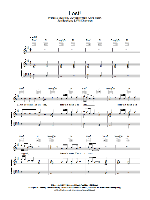 Coldplay Lost! sheet music preview music notes and score for Piano, Vocal & Guitar including 4 page(s)