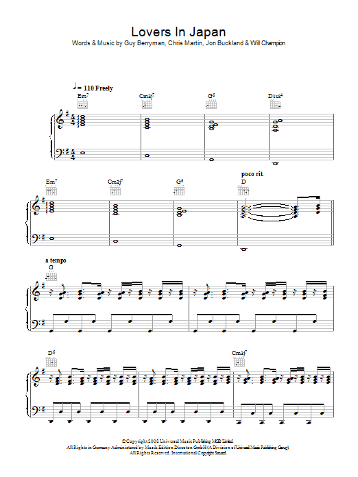Coldplay Lovers In Japan sheet music preview music notes and score for Lyrics & Chords including 2 page(s)