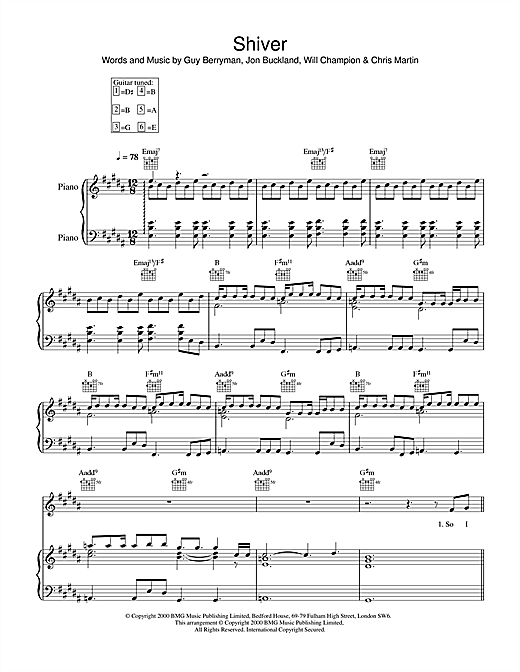Coldplay Shiver sheet music notes and chords