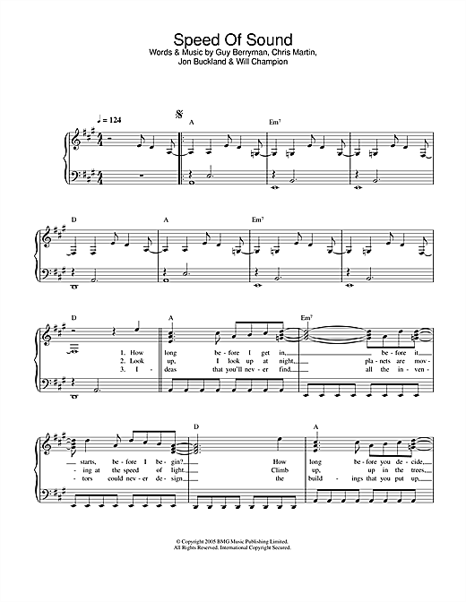 Download Coldplay 'Speed Of Sound' Digital Sheet Music Notes & Chords and start playing in minutes
