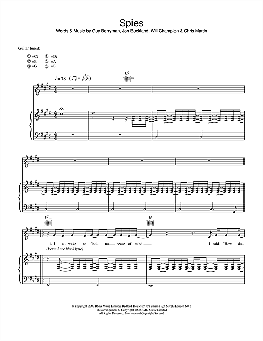 Coldplay Spies sheet music notes and chords