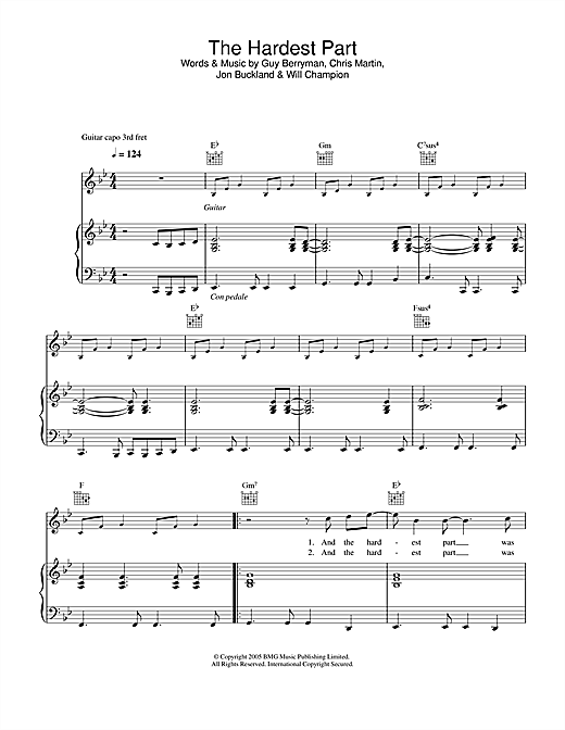 Download Coldplay 'The Hardest Part' Digital Sheet Music Notes & Chords and start playing in minutes