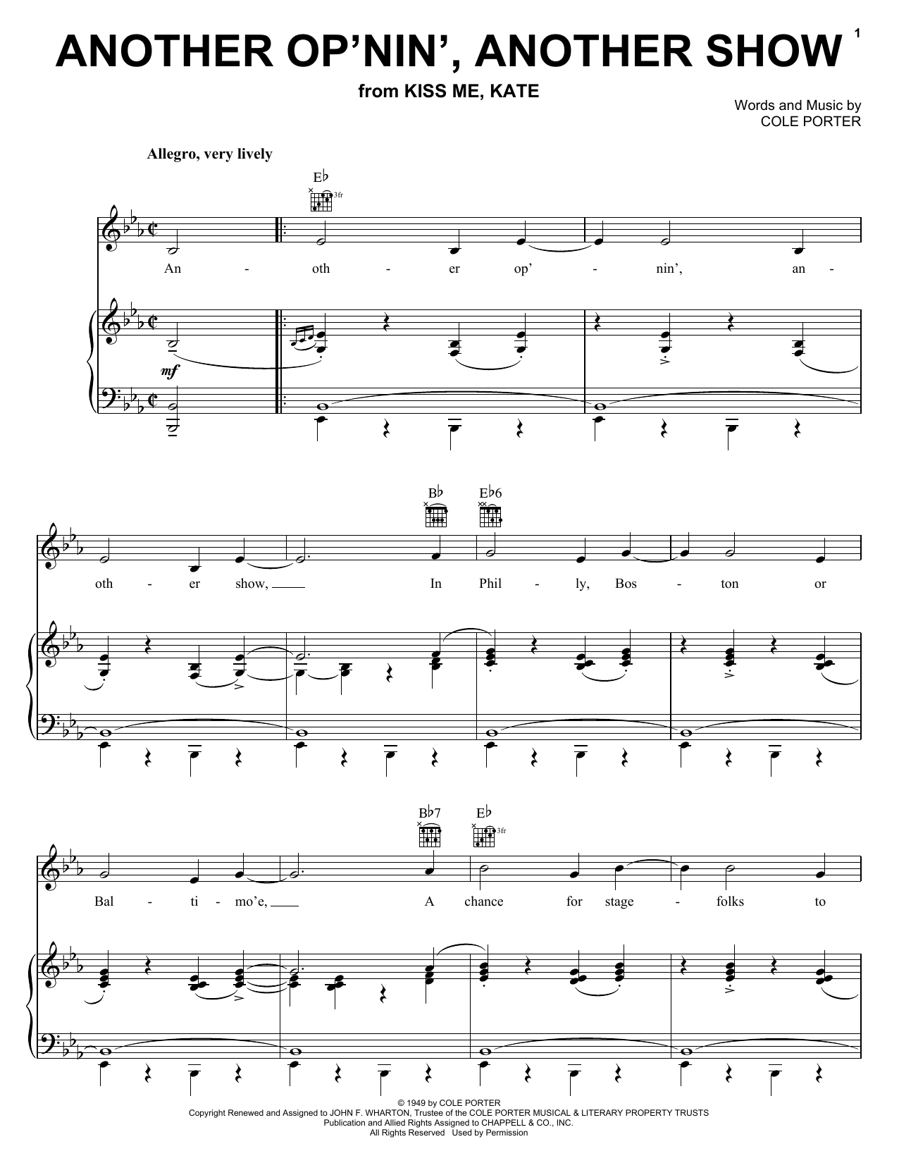 Cole Porter Another Op'nin', Another Show sheet music preview music notes and score for Easy Piano including 4 page(s)