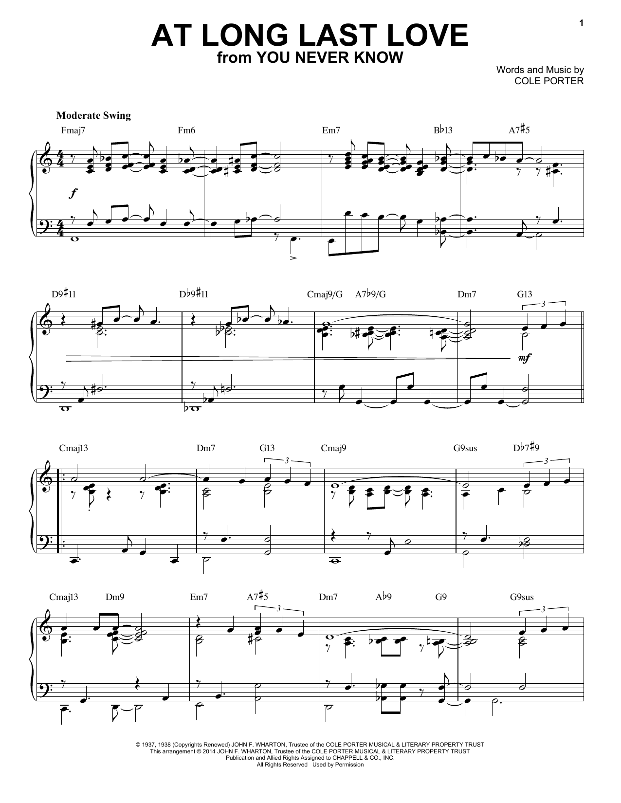 Cole Porter At Long Last Love sheet music notes and chords