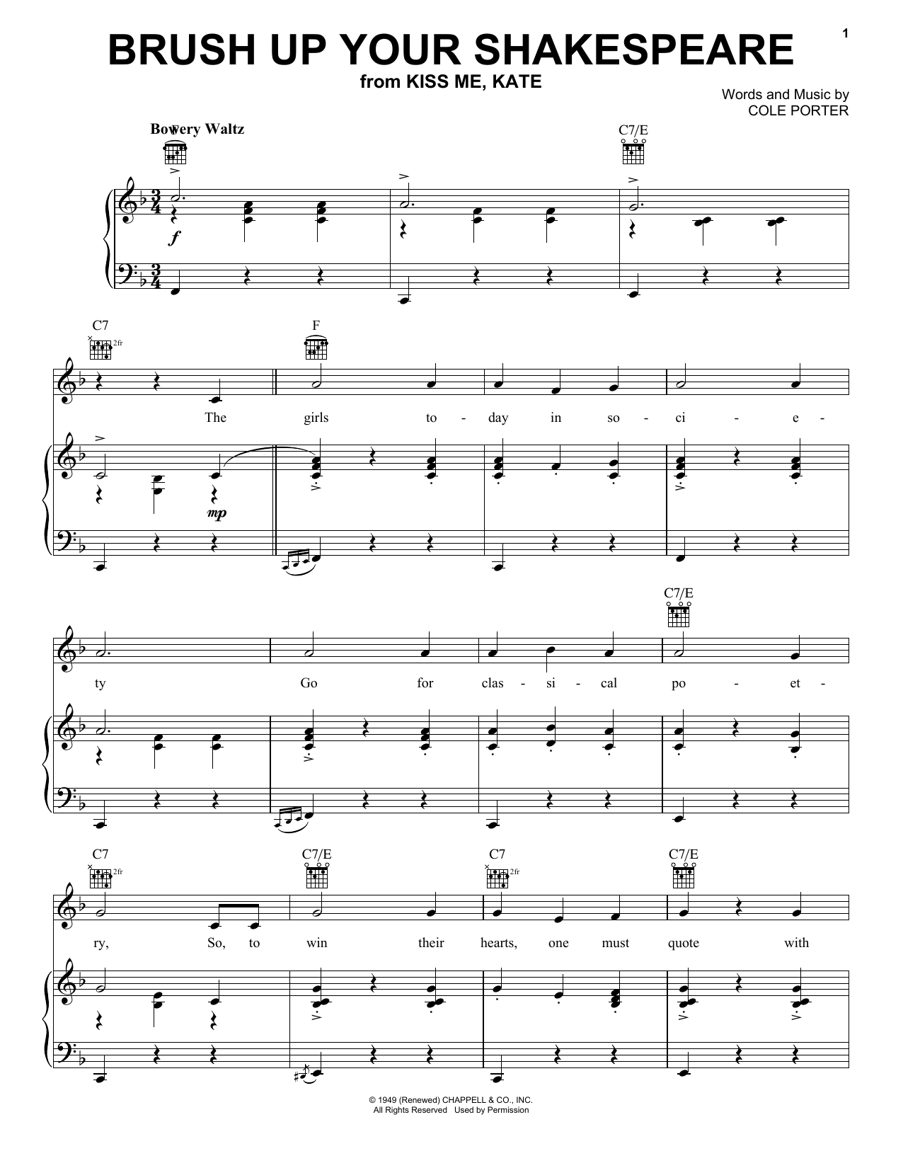 Cole Porter Brush Up Your Shakespeare sheet music notes and chords