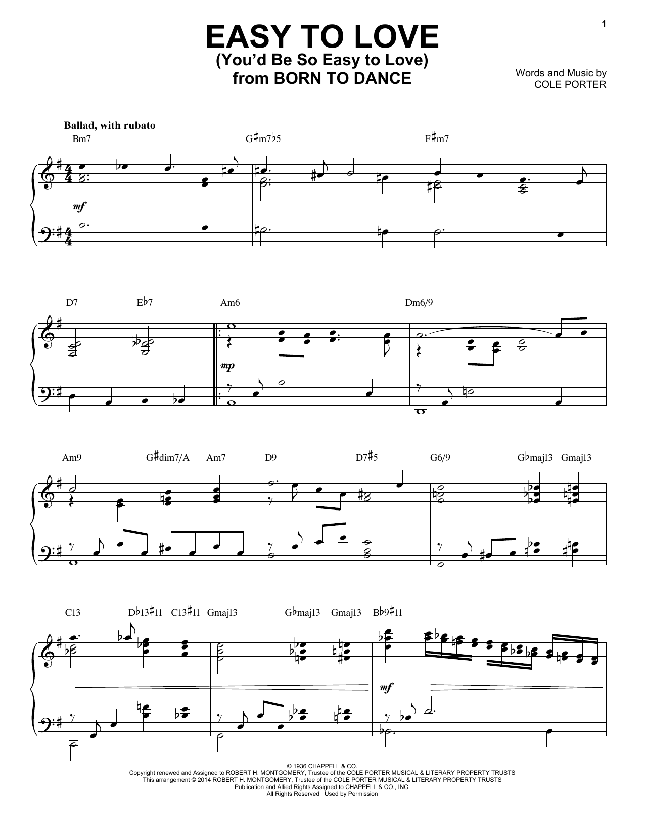 Download Cole Porter 'Easy To Love (You'd Be So Easy To Love)' Digital Sheet Music Notes & Chords and start playing in minutes