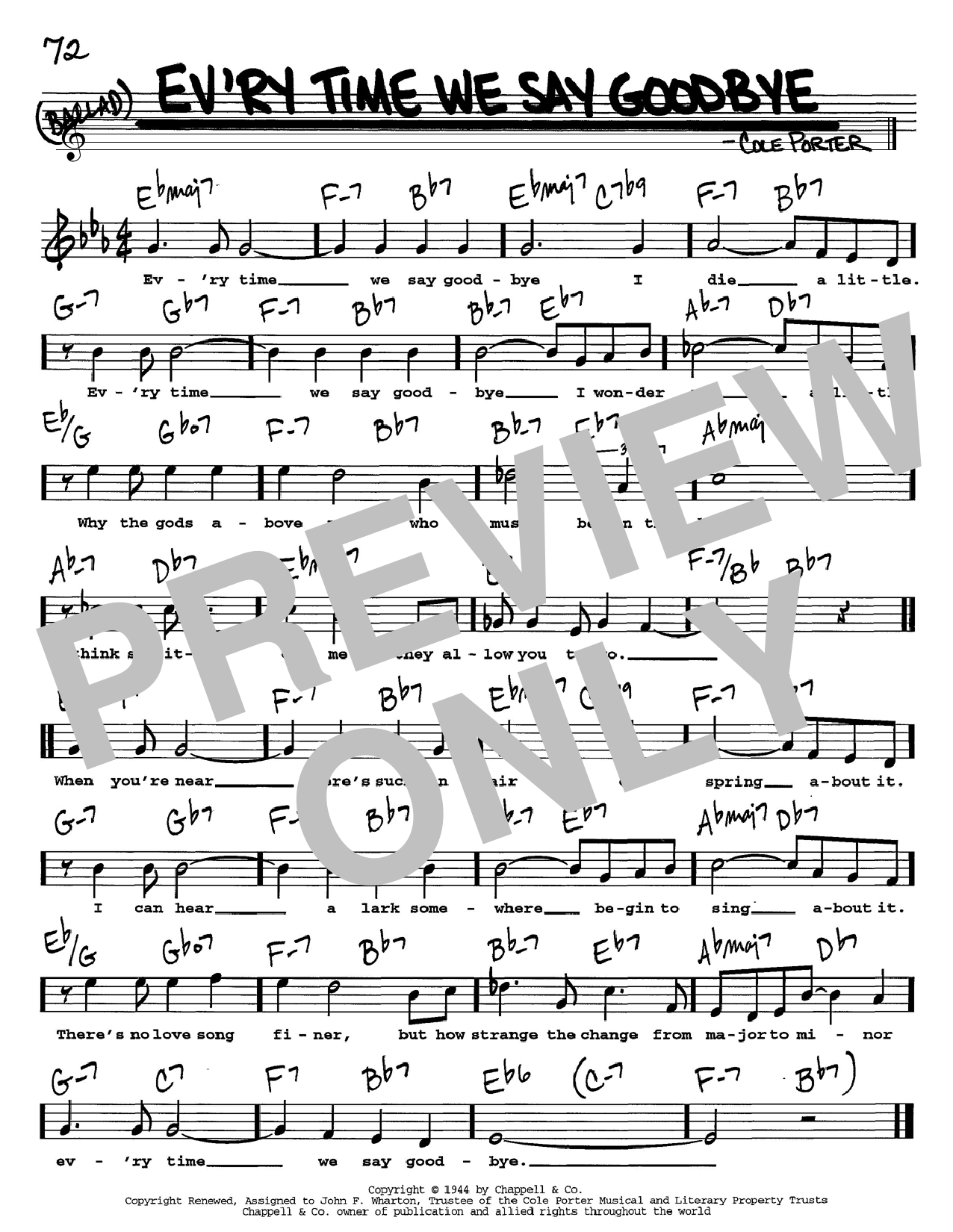 Cole Porter Ev'ry Time We Say Goodbye sheet music notes and chords