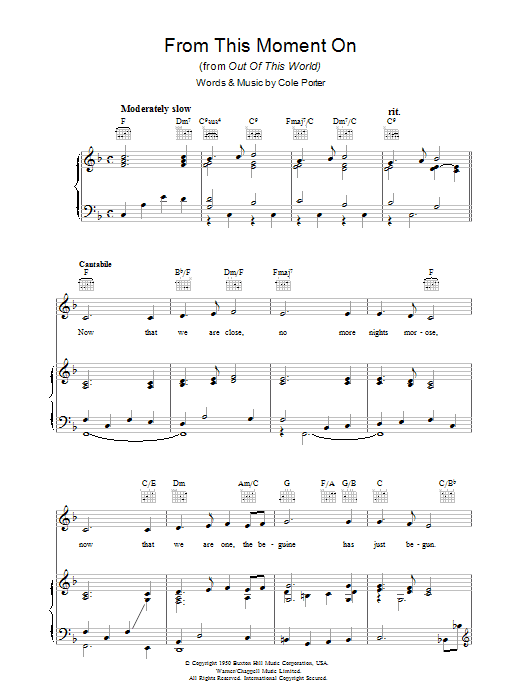 Cole Porter From This Moment On sheet music preview music notes and score for Piano, Vocal & Guitar (Right-Hand Melody) including 6 page(s)
