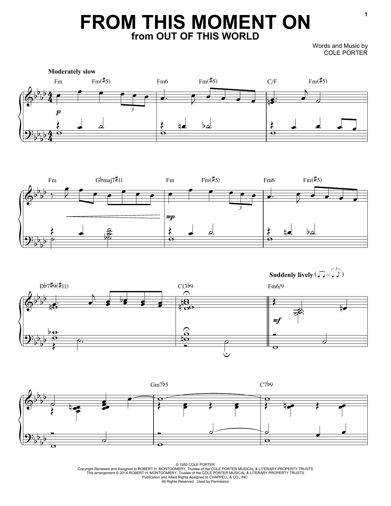 Download Cole Porter 'From This Moment On' Digital Sheet Music Notes & Chords and start playing in minutes