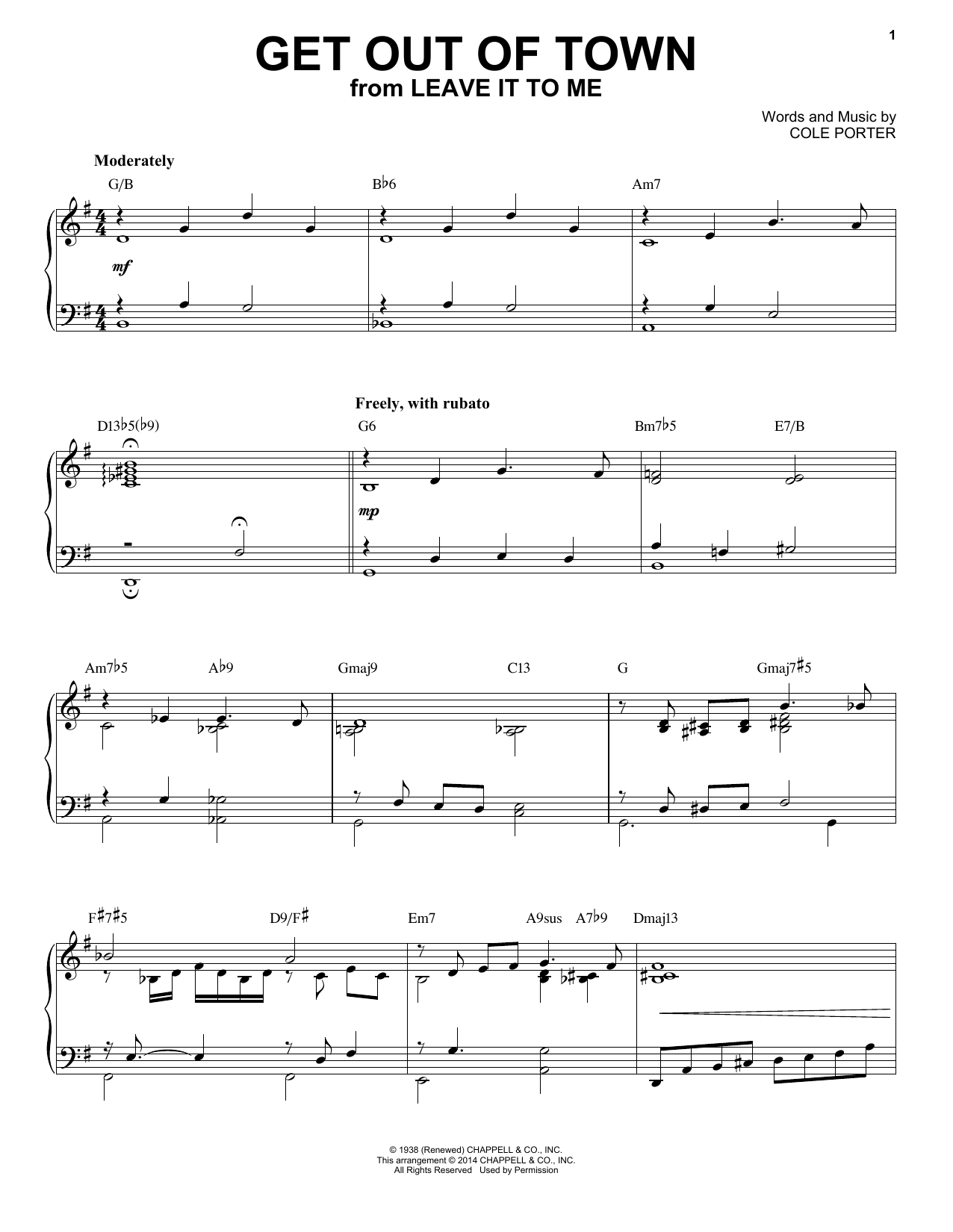 Download Cole Porter 'Get Out Of Town' Digital Sheet Music Notes & Chords and start playing in minutes