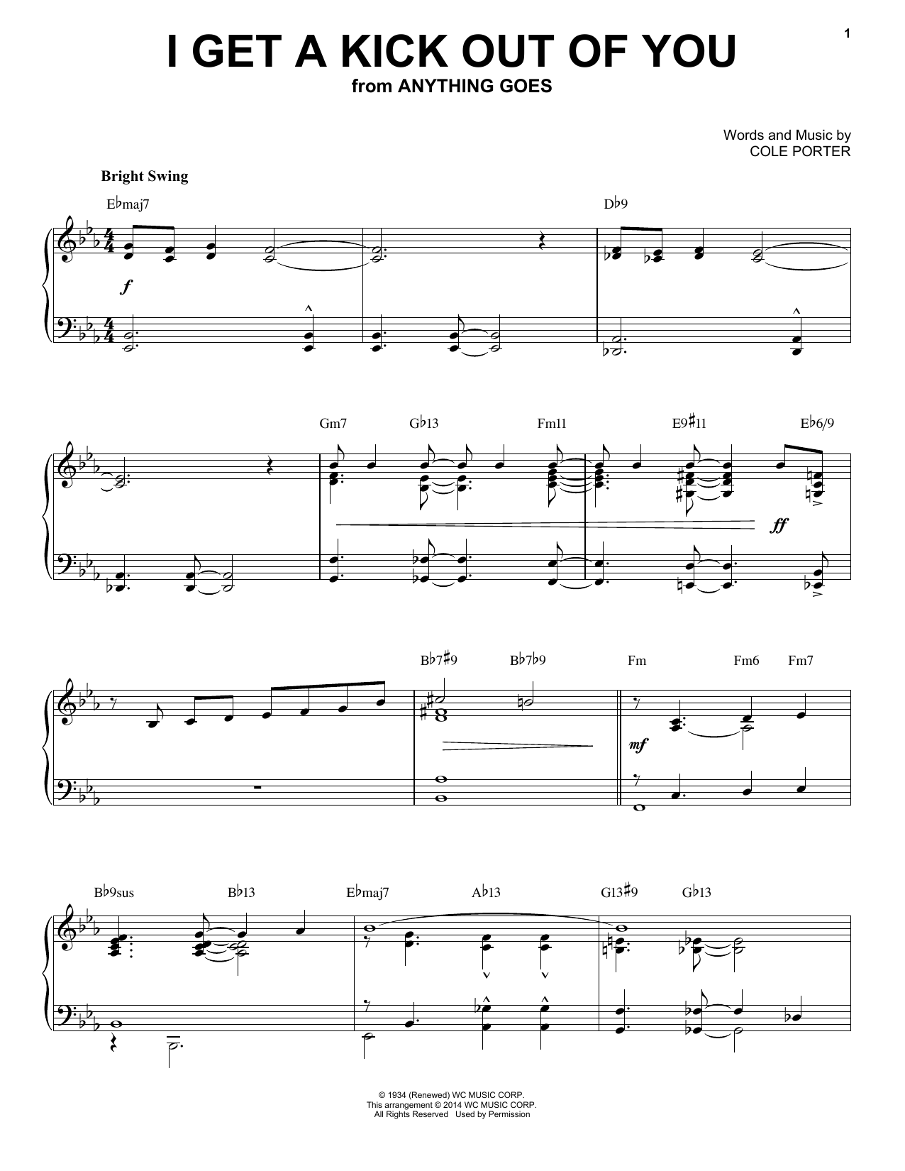 Download Cole Porter 'I Get A Kick Out Of You' Digital Sheet Music Notes & Chords and start playing in minutes