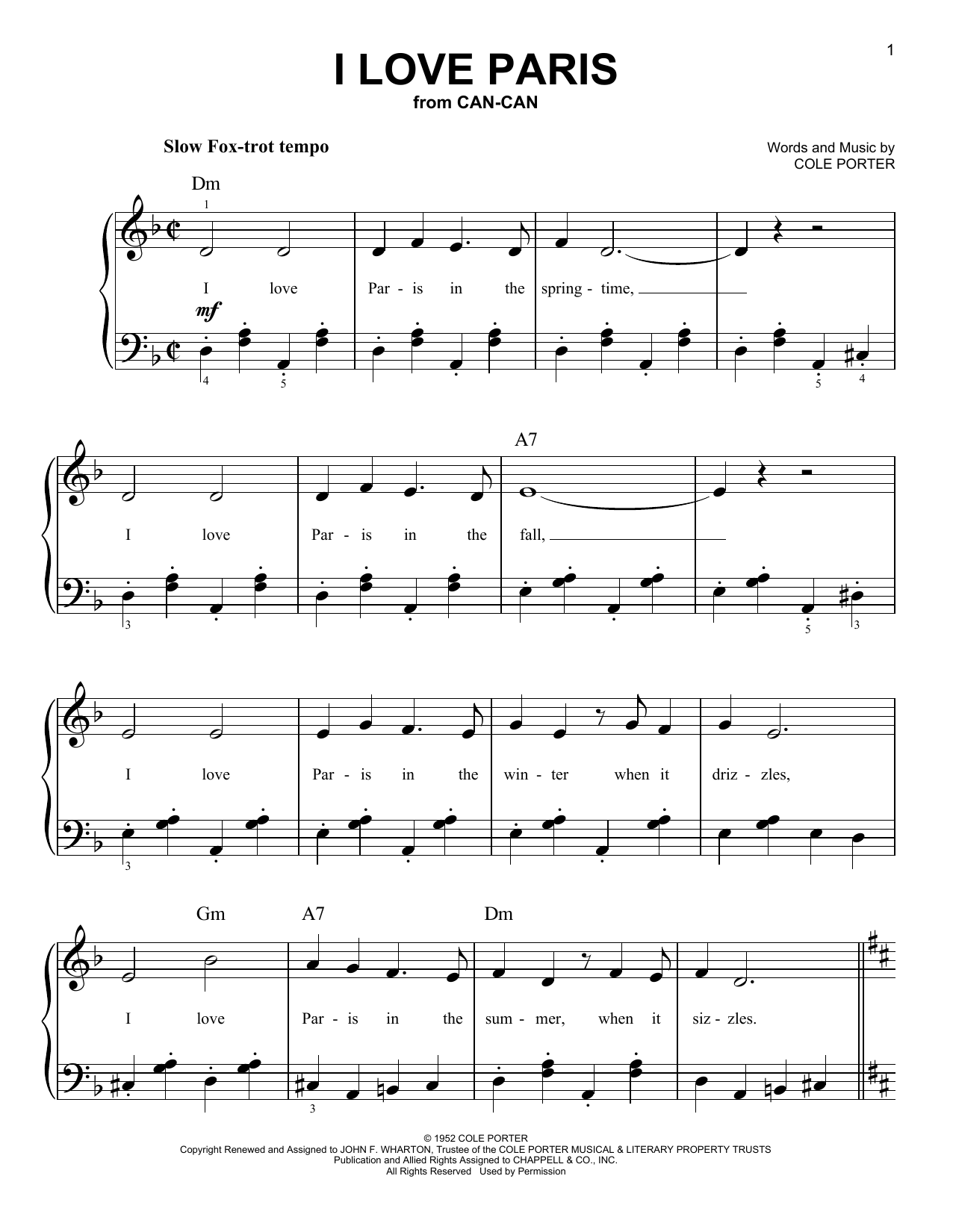 Cole Porter I Love Paris sheet music notes and chords