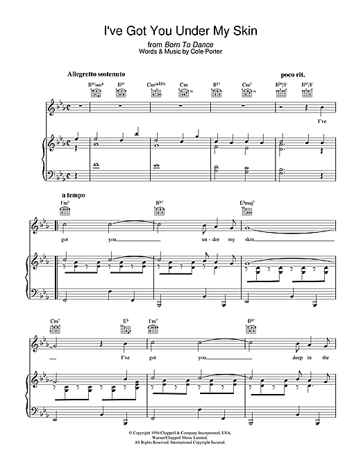 Download Cole Porter 'I've Got You Under My Skin' Digital Sheet Music Notes & Chords and start playing in minutes