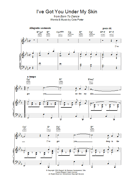 Cole Porter I've Got You Under My Skin sheet music preview music notes and score for Guitar Tab including 3 page(s)