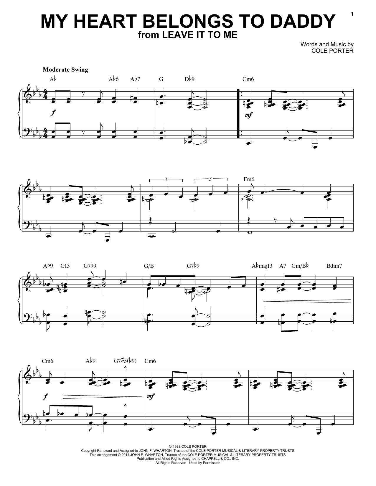 Download Cole Porter 'My Heart Belongs To Daddy' Digital Sheet Music Notes & Chords and start playing in minutes